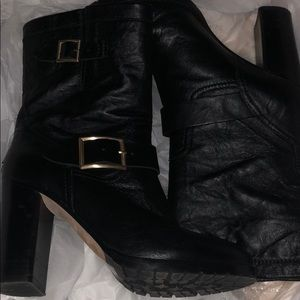 Jimmy choo biker leather boots with a heel